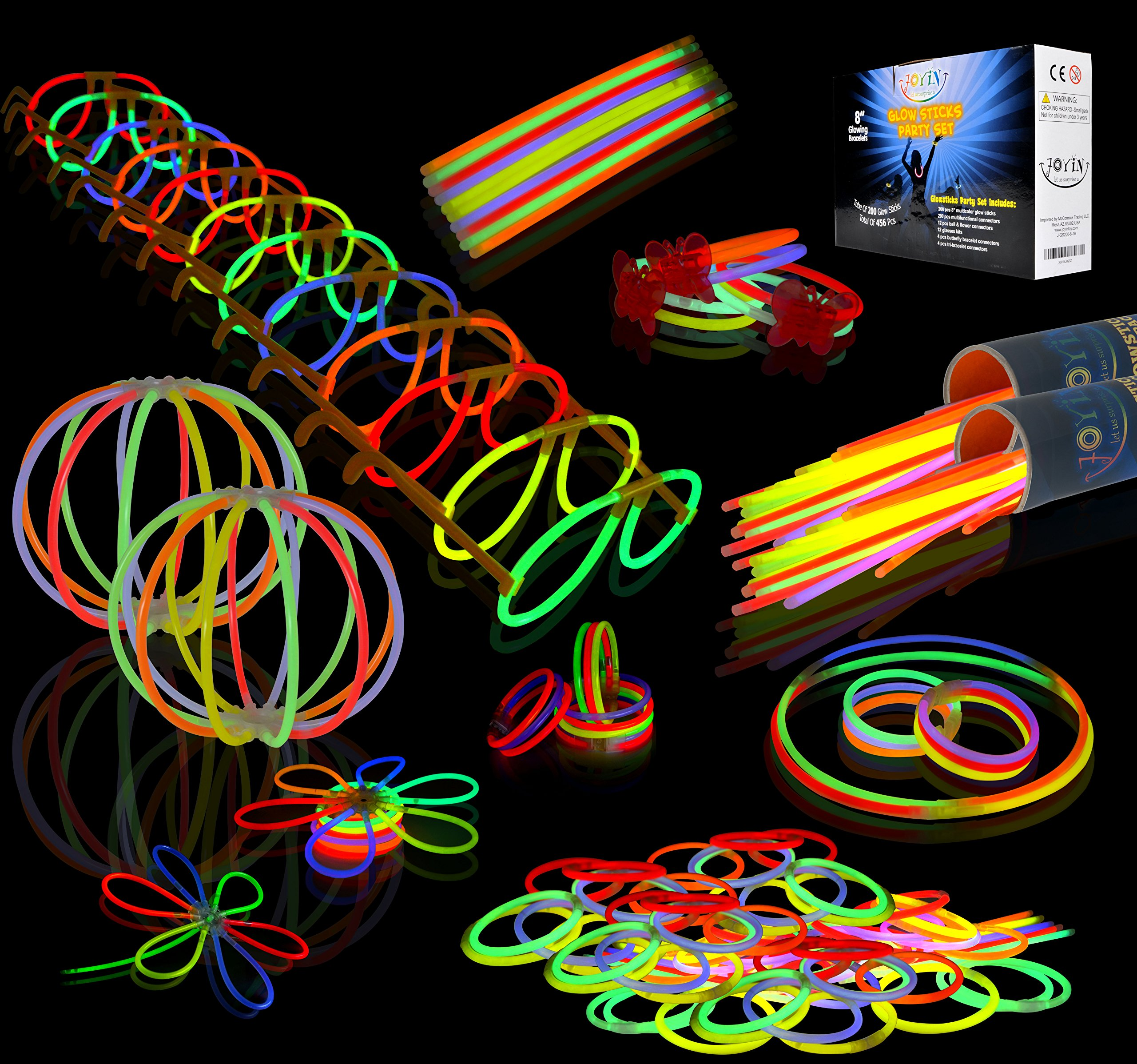 JOYIN Glow Sticks Bulk 200 8'' Glowsticks (Total 456 PCs 7 Colors); Bracelets Glow Necklaces Glow-in-The-Dark Light-up July 4th Halloween Party Supplies Pack by JOYIN