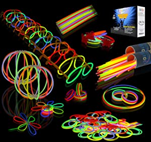 "JOYIN Glow Sticks Bulk 200 8"" Glowsticks (Total 456 PCs 7 Colors); Bracelets Glow Necklaces Glow-in-The-Dark Light-up July 4th Halloween Party Supplies Pack"