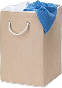 Honey-Can-Do HMP-01453 Sturdy Resin Hamper with Rope Handles, Natural, 1-Bin, Folding Single Hamper