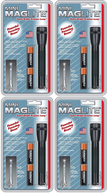 Black 2 Pack Maglite Mini Incandescent 2-Cell AA Flashlight