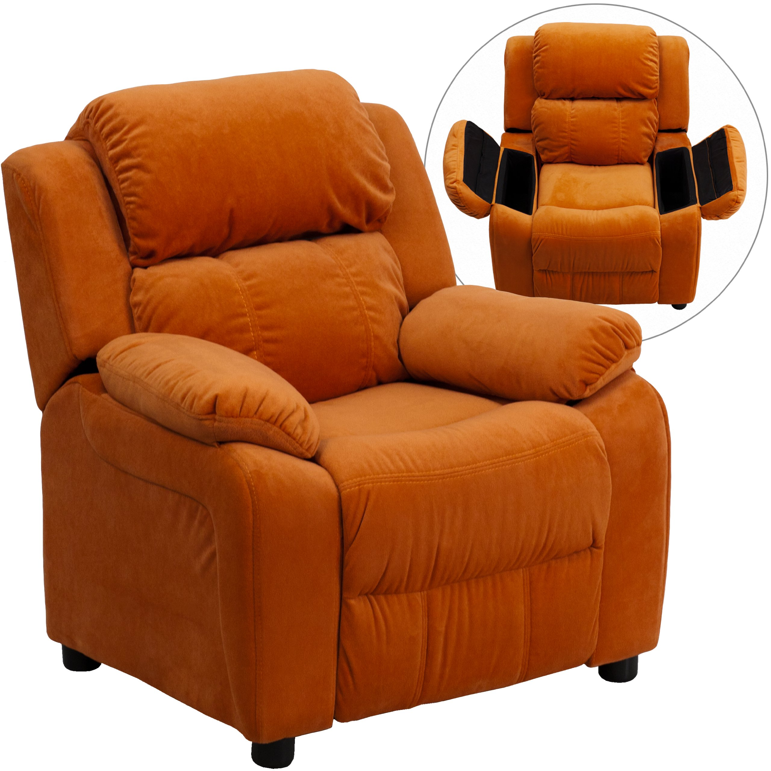 Winston Direct Kids' Series Deluxe Padded Contemporary Orange Microfiber Recliner with Storage Arms