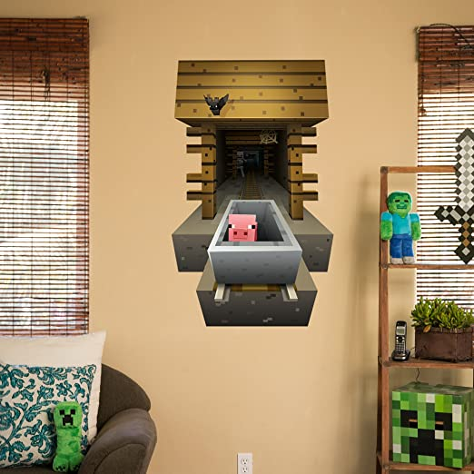 Amazon.com: JINX Minecraft Wall Cling Decal Set (Minecart, Steve ...