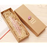 eMosQ Segnalibro in metallo, con rivestimento in ottone, a forma di piuma, classico, realizzato a mano, in confezione regalo Rose Gold