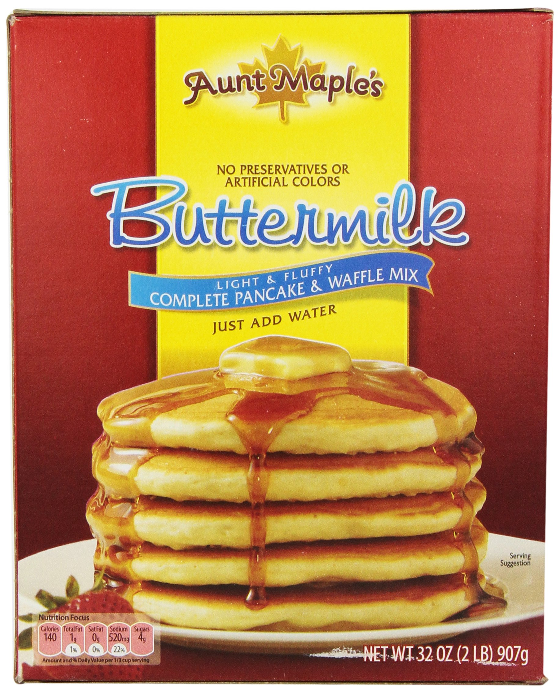 Aunt Maple's Buttermilk Complete Pancake and Waffle Mix, 32 Ounce (Pack of 12)