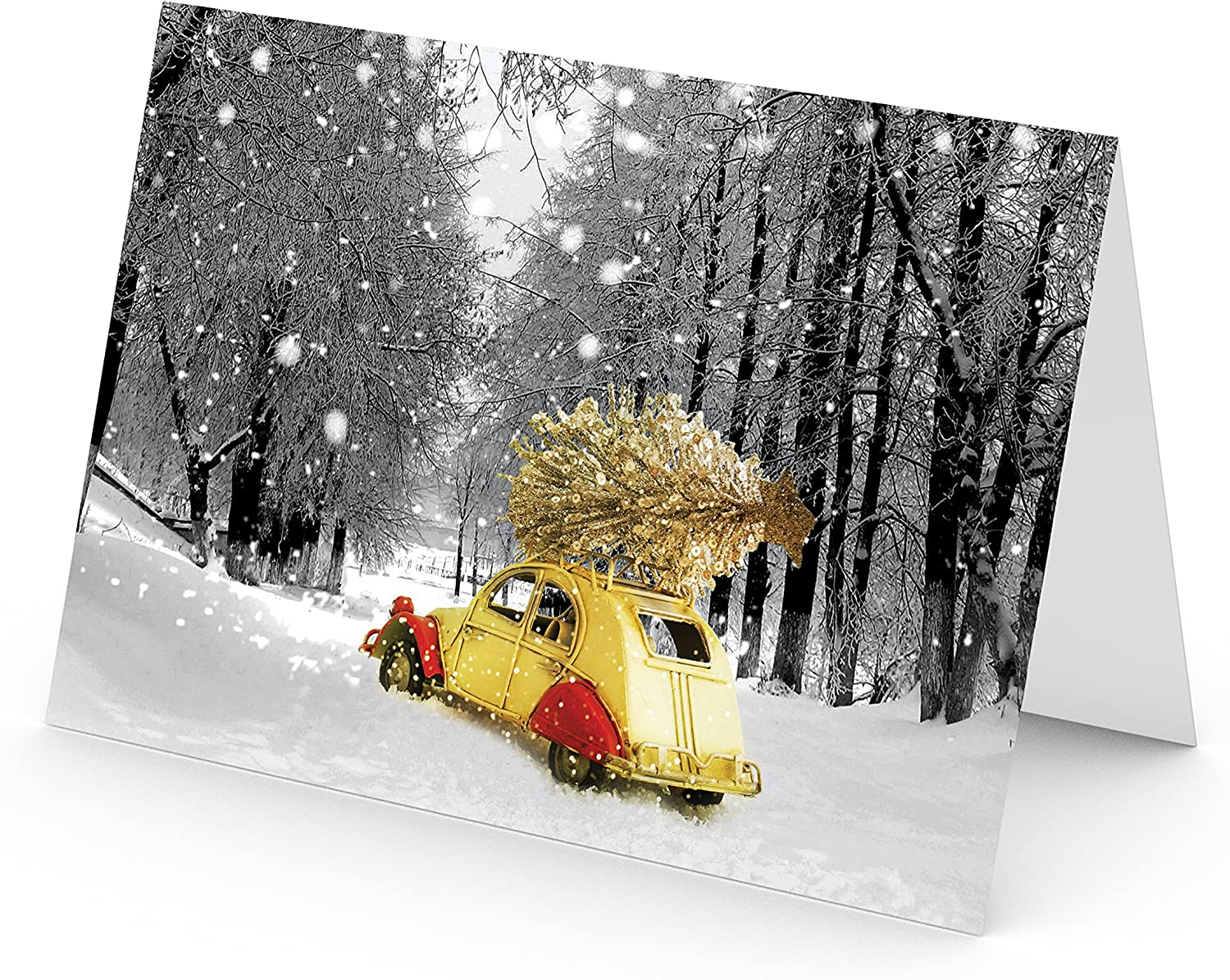 Heavy Stock Set of 18 Cards /& Envelopes 5x7 Holiday Cards Seasons Greetings Cards. One Jade Lane Lighted Tree in the Snow Christmas Cards