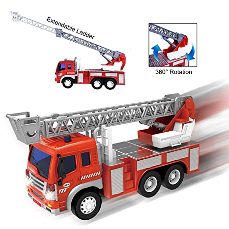 Friction Powered Firefighter Rescue Fire Truck 1:16 Toy Vehicle with  Lights, Sounds, Extendable Ladder, 360 Degree Rotation