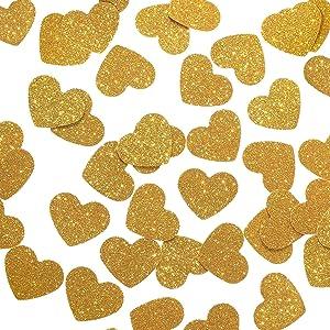 100pcs Gold Glitter Paper Confetti Hearts for Valentine's Decor, Wedding, Party, Decor, DIY Table Confetti Decor