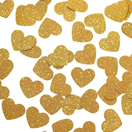 Gold Glitter Paper Large Hearts 30 Pieces
