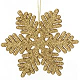 iPEGTOP 24 pcs Plastic Glitter Snowflake Ornaments Christmas Party Home Holiday Decoration, 4 inch, Gold