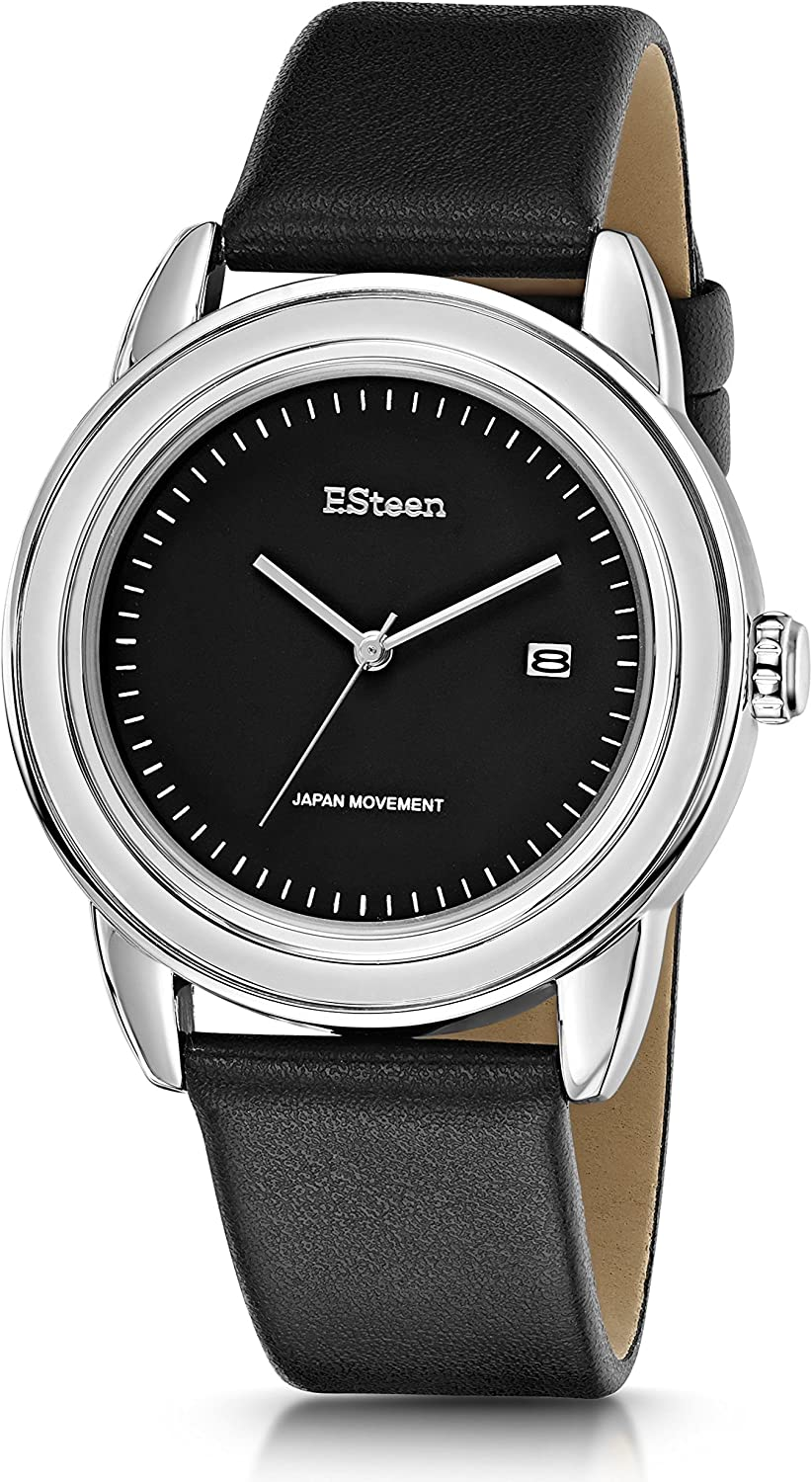 F.Steen Men s Summit -FS3D3 Japan Quartz Trendy Look Silver Case Fashion Analog Watch with Genuine Leather Band