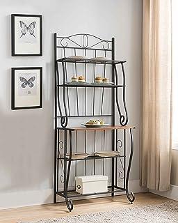 Kings Brand Furniture Black/Walnut 5 Tier Kitchen Storage Bakers Rack
