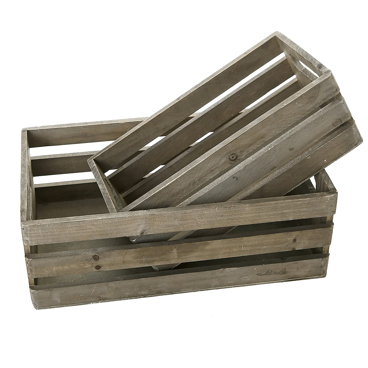 MyGift Distressed Wood Nesting Boxes, Storage Crates w/Handles, Set of 2, Gray