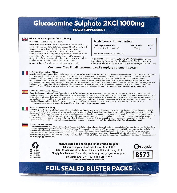 Sulfato de Glucosamina 1000mg - 120 cápsulas - Hasta 3 meses de suministro -Para el cuidado de las articulaciones - SimplySupplements: Amazon.es: Salud y ...