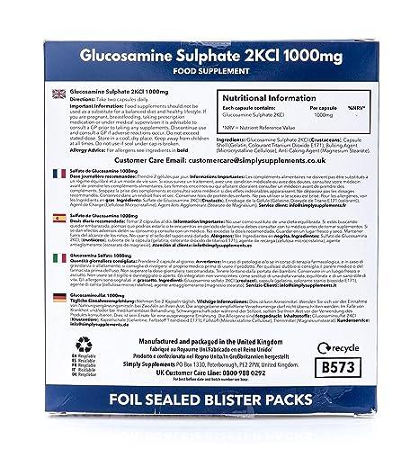 Sulfato de Glucosamina 1000mg - 120 cápsulas - Hasta 3 meses de suministro - SimplySupplements: Amazon.es: Salud y cuidado personal
