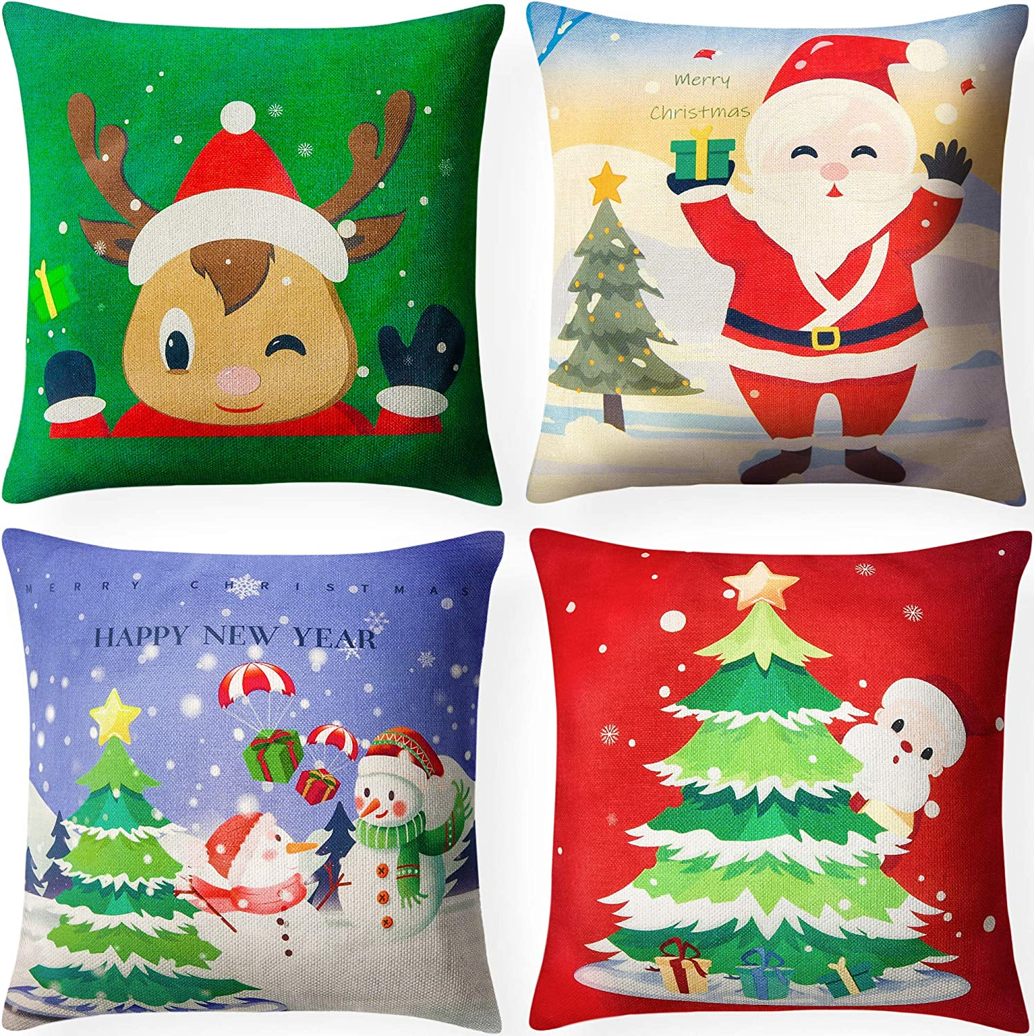 Funny Snowman and Reindeer Christmas pillow covers