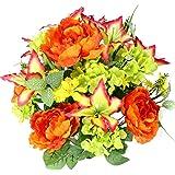 Admired By Nature Artificial Flower bush, Yellow/Orange/Velvet/Kiwi