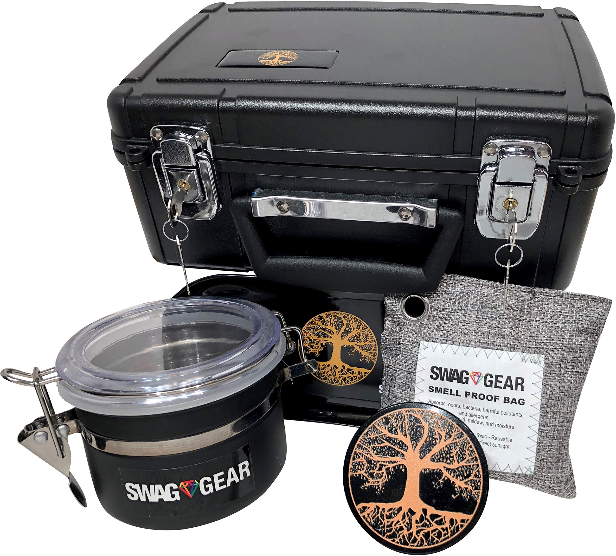 Large Stash Box Combo with Lock - Locking Smell Proof Case with Grinder Stash Jar and Rolling Tray - Large Stash Container with Key Lock Box (Tree of Life) by SwagGear