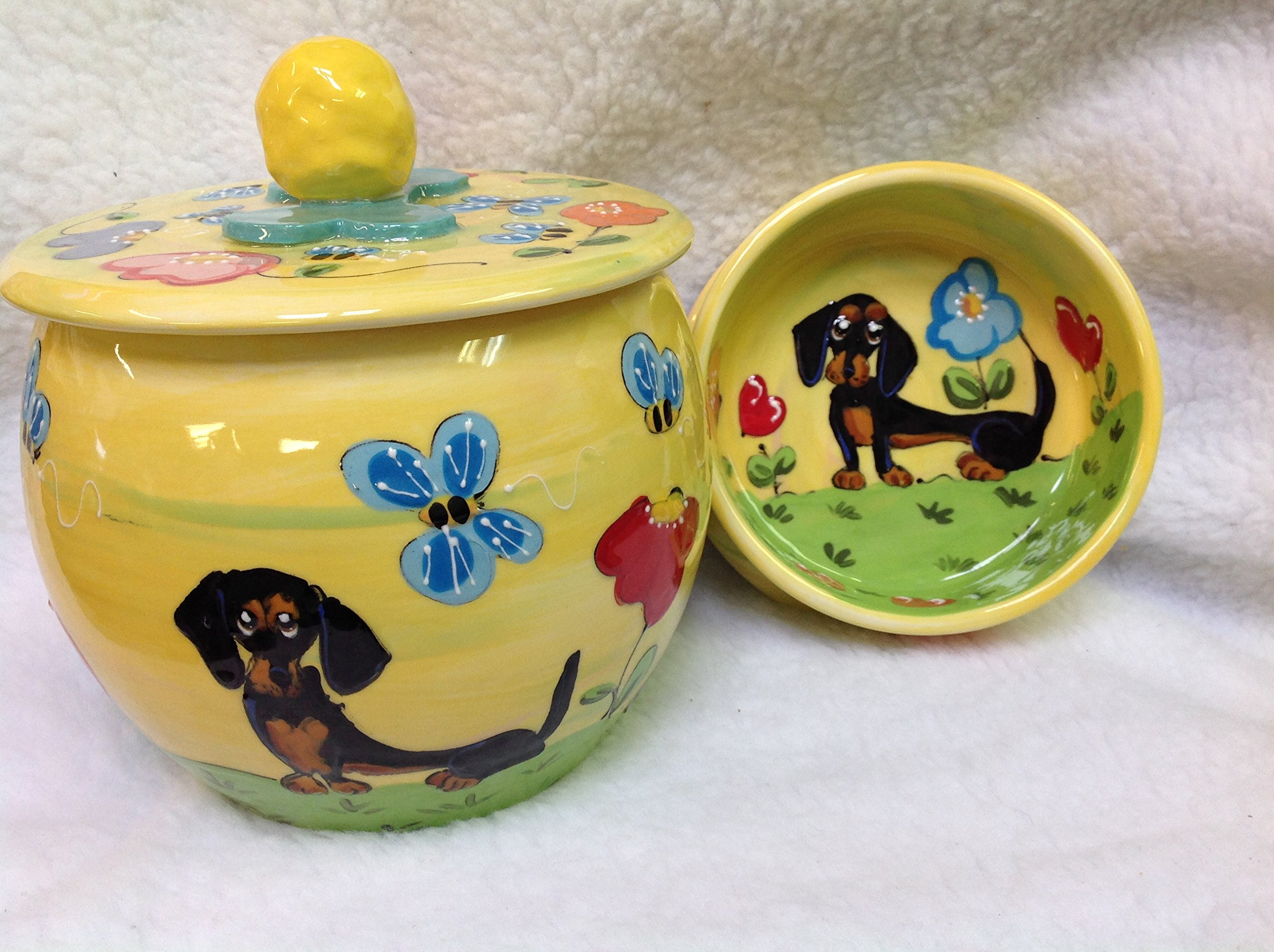 Dachshund 6'' Pet Bowl for Food or Water and Treat Jar, Personalized at no Charge. Signed by Artist, Debby Carman.