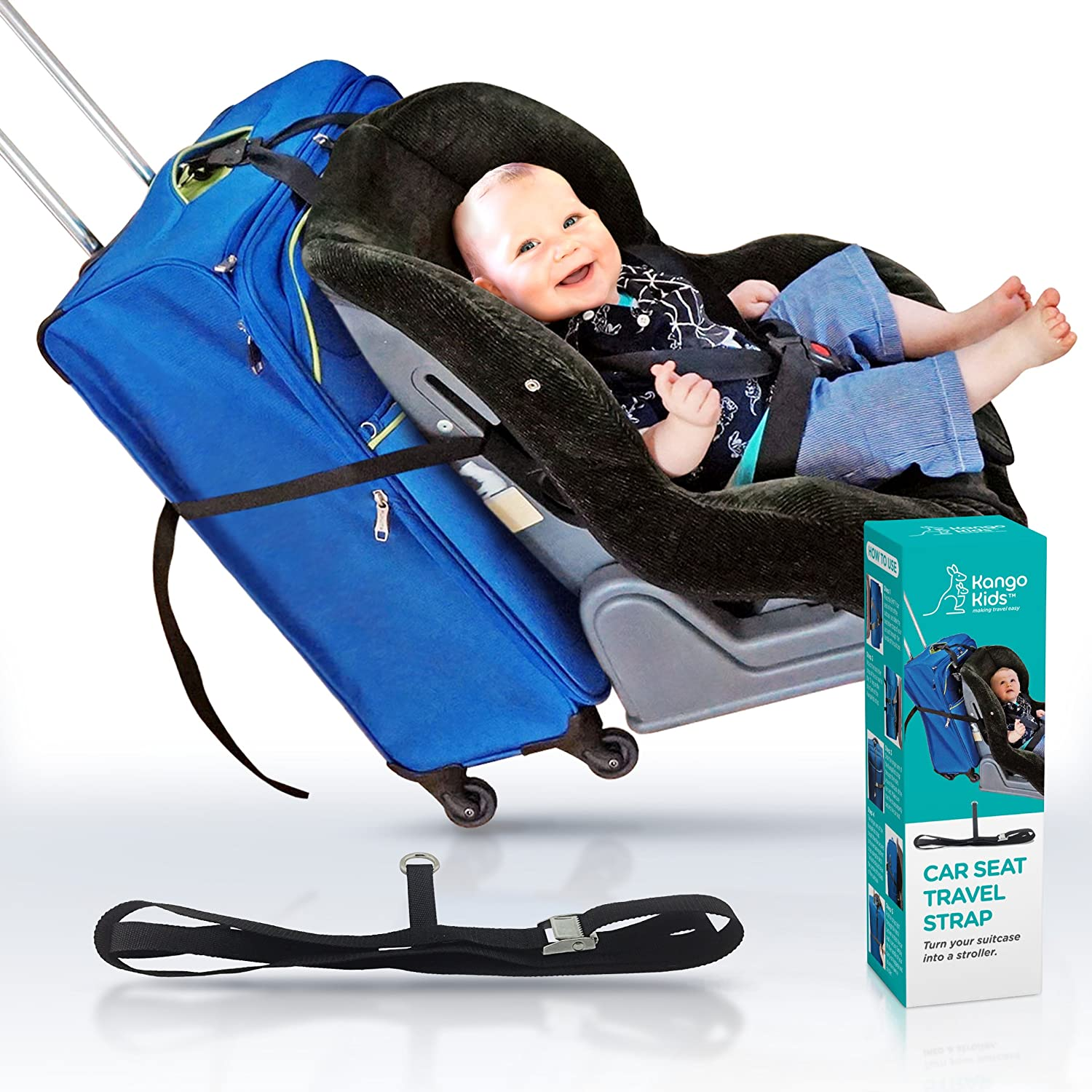Amazon CAR SEAT STRAP Turn Your CarSeat And Carry On Luggage Into An Airport Stroller