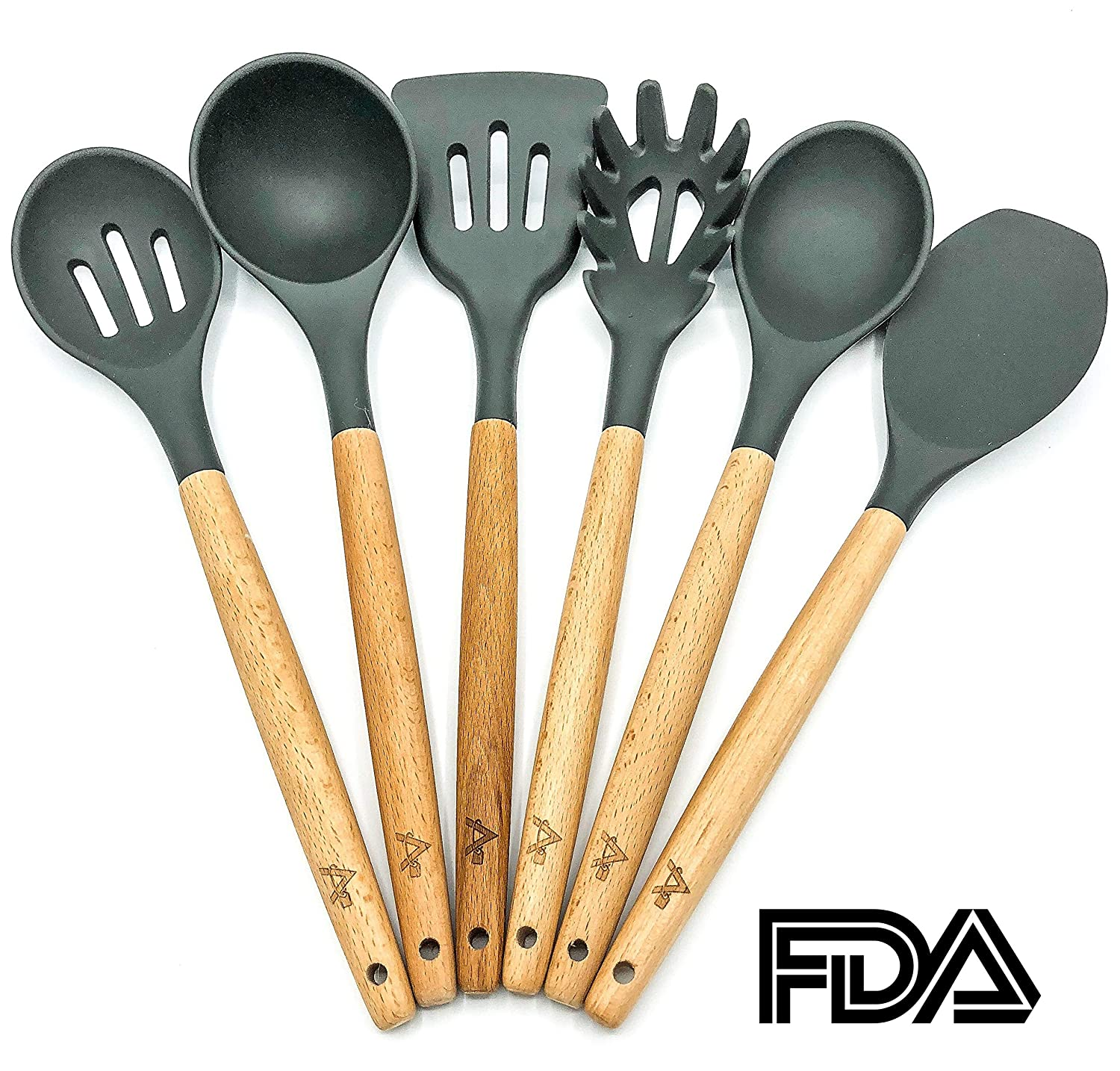 AMRON817 Grey 6 Piece Kitchen Utensil Set - Silicone and Beech Wood Without Breaking The Bank!