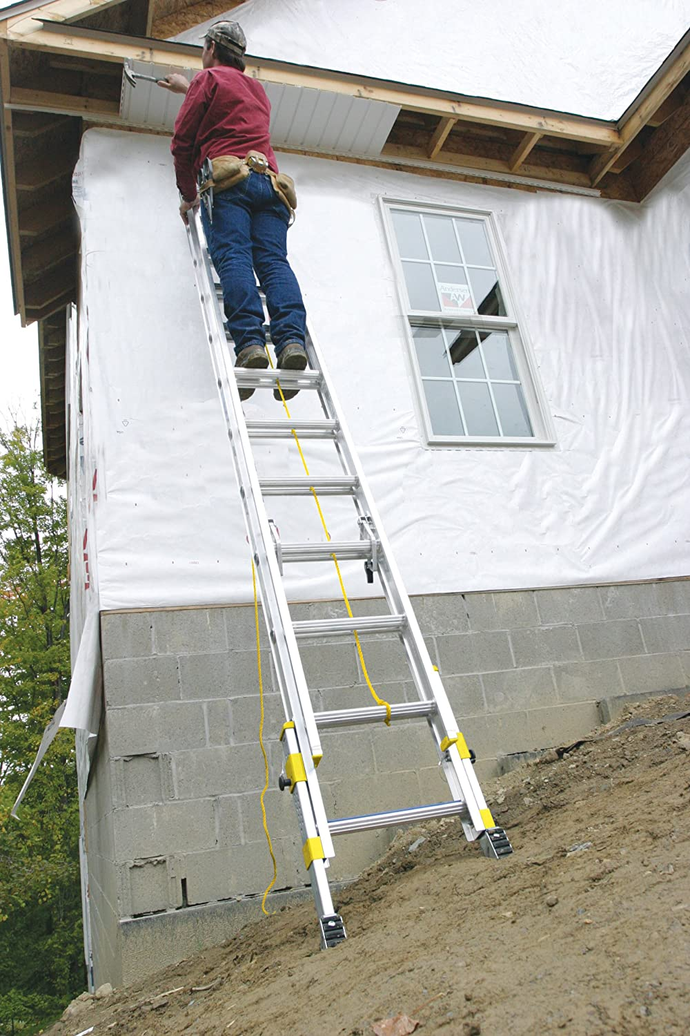 20-Foot Werner D18202EQ Equalizer 250-Pound Duty Rating Aluminum Extension Ladder with Integrated Leveling System