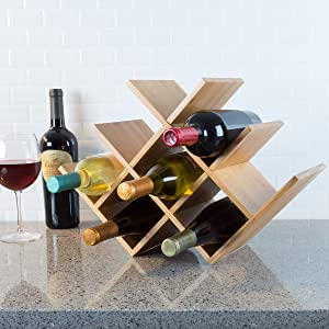 Classic Cuisine Bamboo 8 Rack-Space Saving Tabletop Free Standing Wine Bottle Holder for Kitchen, Bar, Dining Room-Modern Storage Shelf, Wood