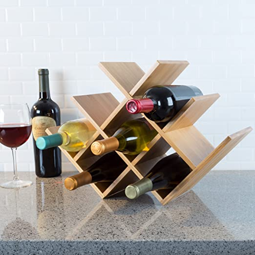 Amazon Com Classic Cuisine Bamboo 8 Rack Space Saving Tabletop Free Standing Wine Bottle Holder For Kitchen Bar Dining Room Modern Storage Shelf Wood Kitchen Dining
