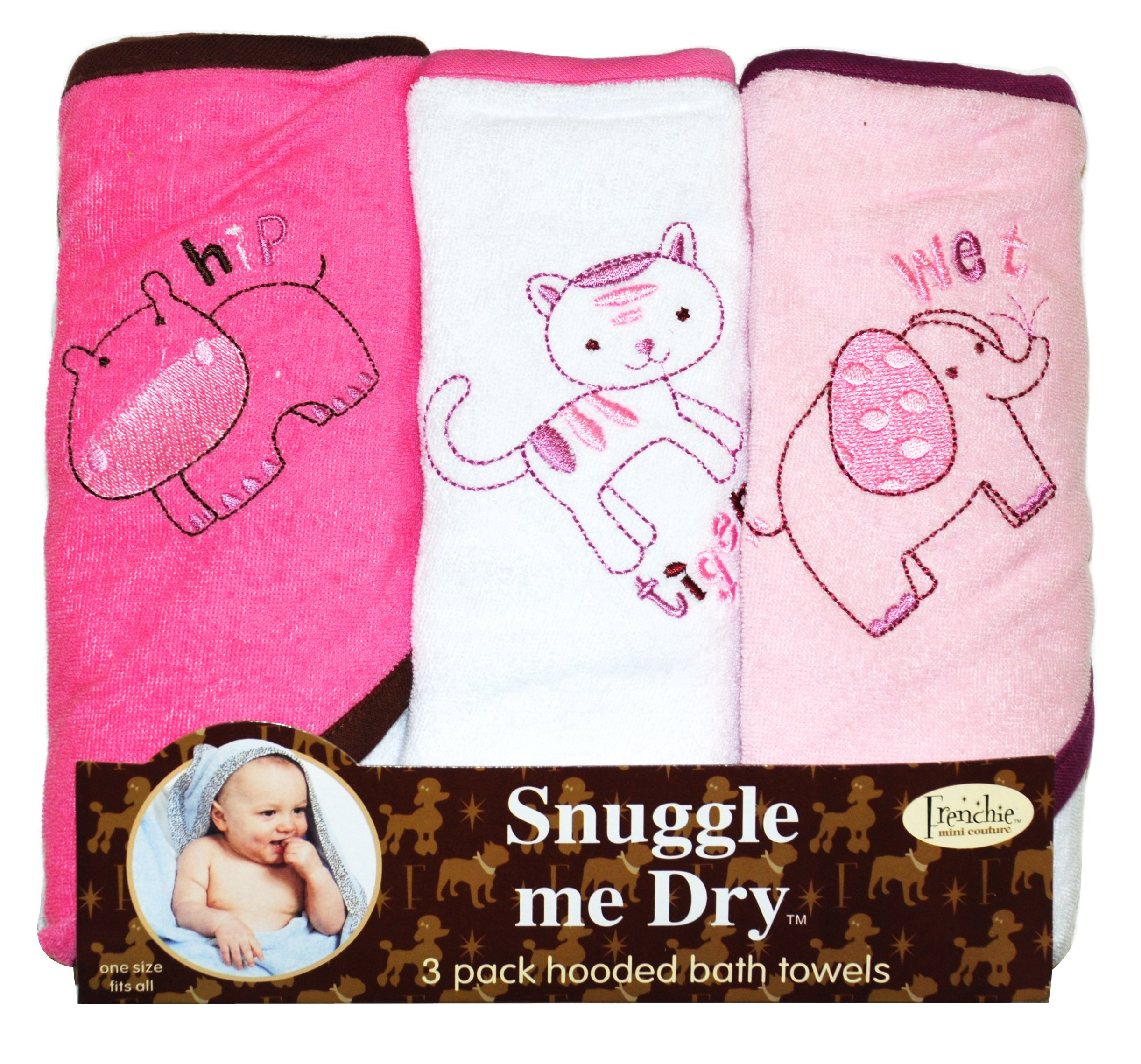 Girls, Wild Animal Design, Hooded Bath Baby Infant Towel Set, 3 Pack Knit Terry, Frenchie Mini Couture