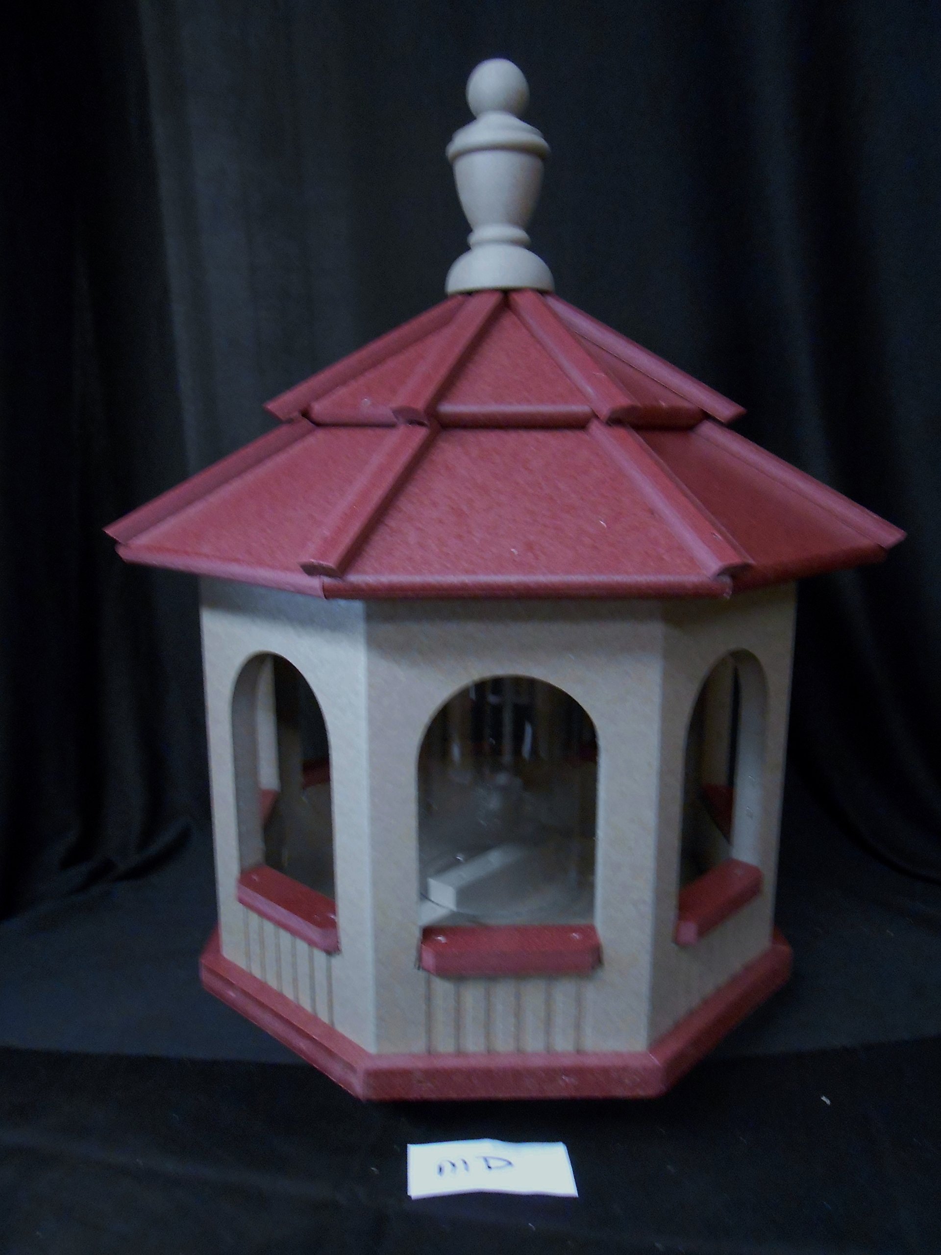 Vinyl Gazebo Bird Feeder Amish Homemade Handmade Handcrafted Clay and Red med