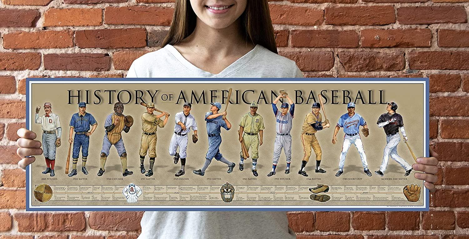 Updated 2017 New HISTORY of BASEBALL color poster//print Free delivery.