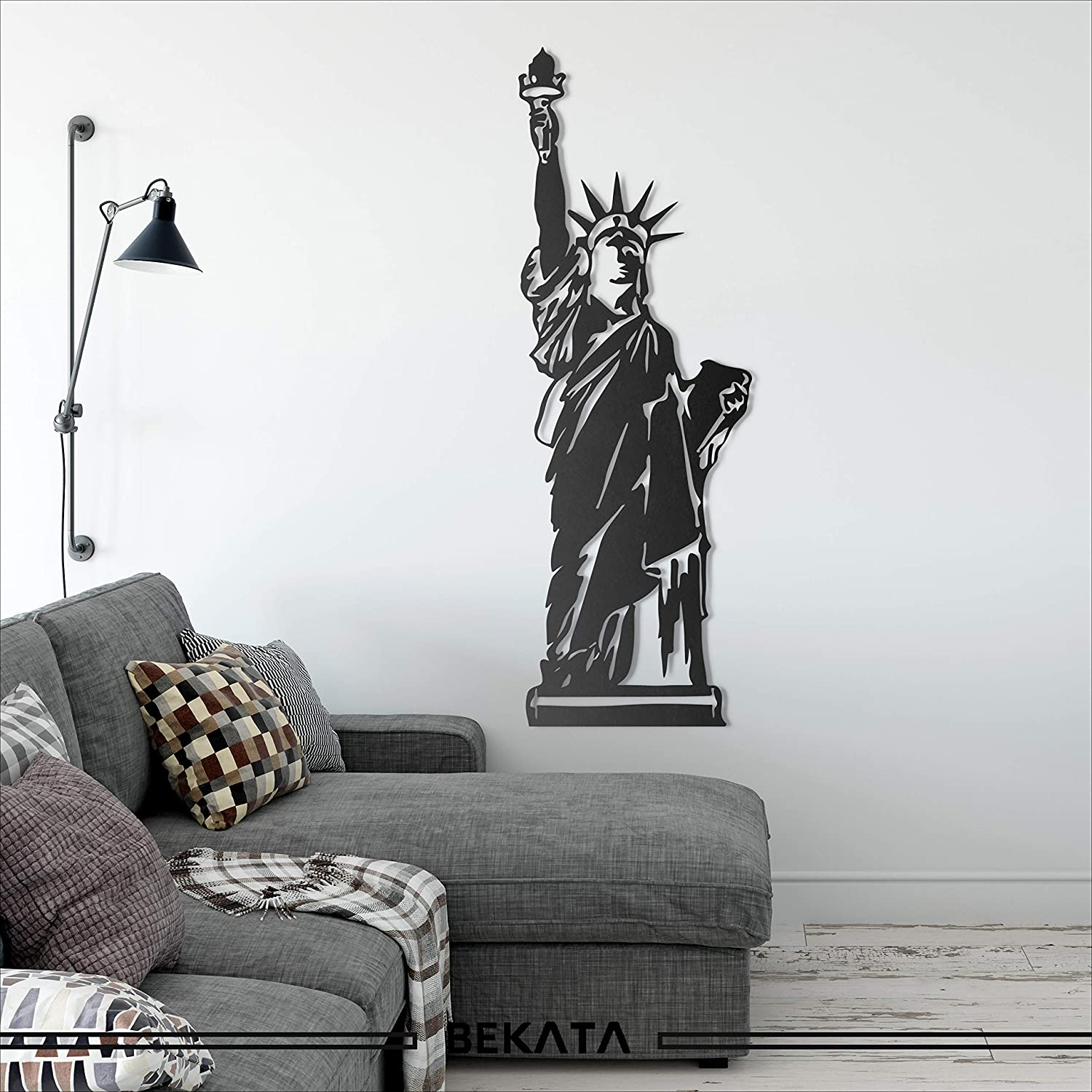 """Bekata Statue Of Liberty Metal Wall Art, Lady Liberty Metal Wall Decoration, Home, Office, Living Room, Bedroom, Housewarming Gift, Wall Hangings, Minimalism 34X100 CM /13.3""""X39.4"""" INCHES"""