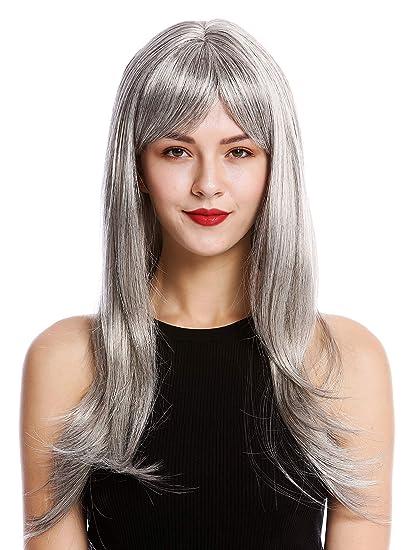 WIG ME UP ® - GFW2274-51 Peluca mujer calidad larga lisa flequillo atractivo gris