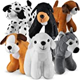 Bedwina Plush Puppy Dogs - (Pack of 12) 6 Inches Tall Stuffed Animals Bulk Assorted Puppies and Cute Stuffed Plushed Dog Pupp