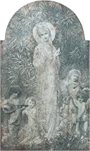Creative Co-op Vintage Reproduction of Lady in The Garden Image Wood Wall Décor, Multicolored
