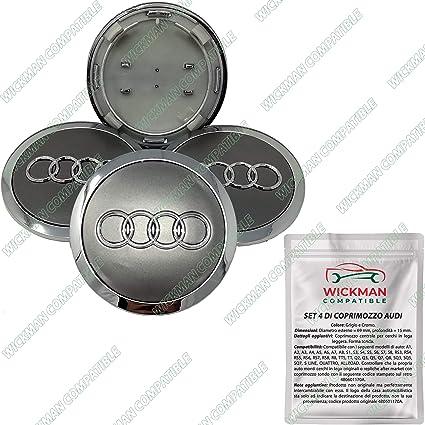 Juego de 4 tapacubos compatibles con Audi – gris, logotipo cromado, 69 mm de diámetro – de Wickman compatible – gestionado y enviado por Italia: Amazon.es: Coche y moto