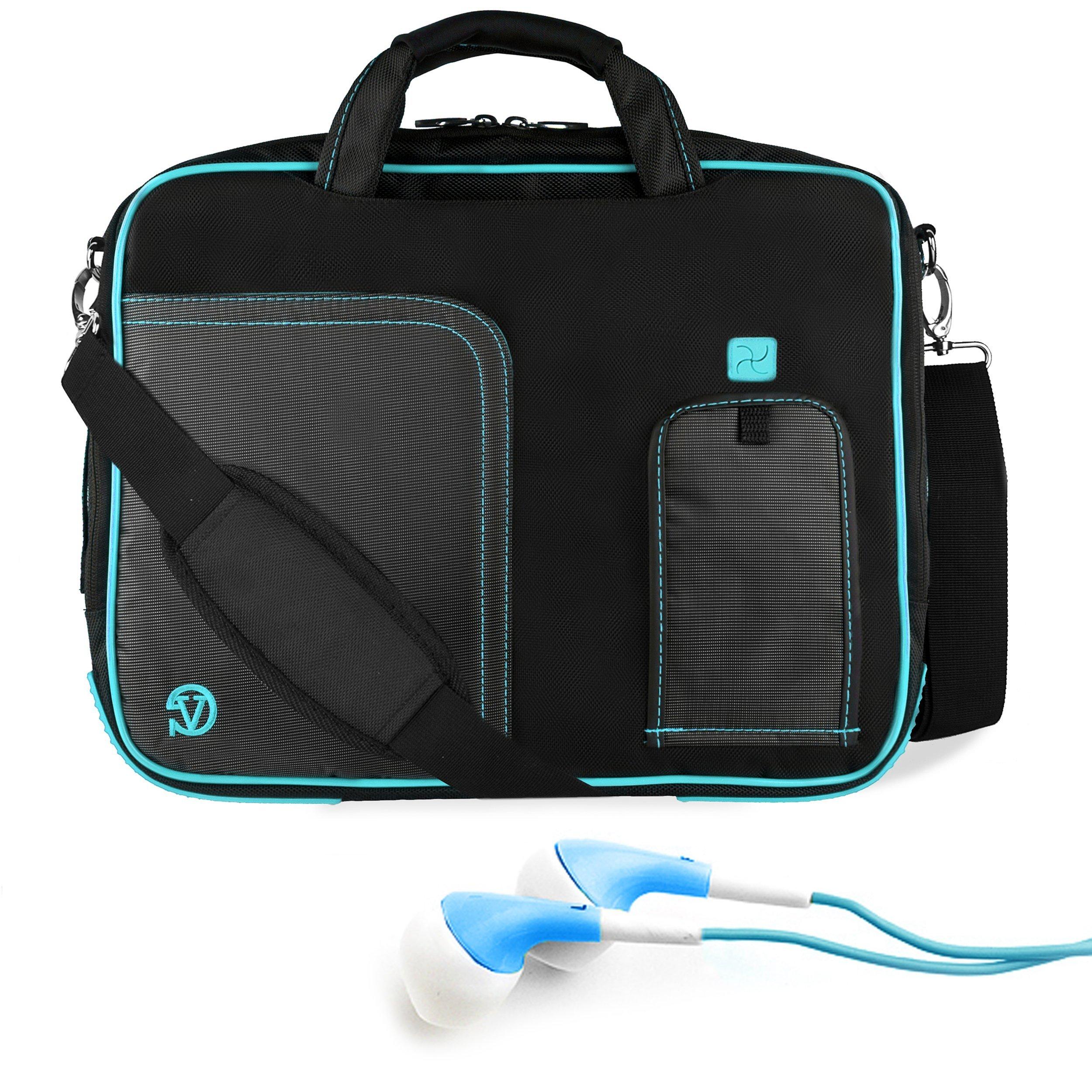 Black Aqua Blue VG Pindar Edition Messenger Bag Carrying Case for Samsung Series 7 XE700T1A 11.6 inch Slate/Business Slate Tablet + Blue Hifi Noise Reducing Headphones