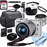 Canon EOS M100 Mirrorless Digital Camera (White) with 15-45mm Lens + 32GB Card, Tripod, Case, and More (18pc Bundle)