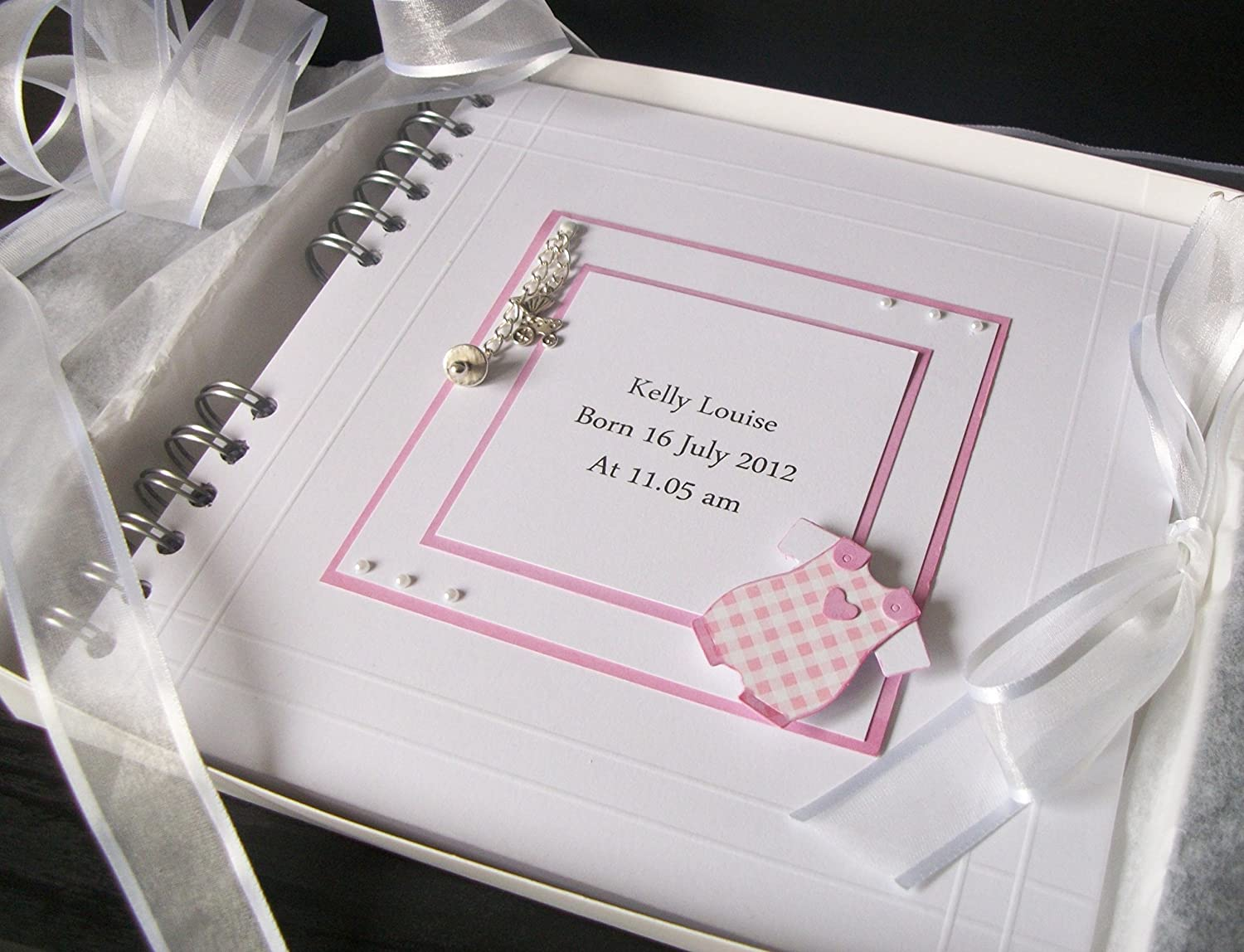 Christening Guest Book, Baby Album , Scrapbook, Memory Book, Personalised , Boxed 8 x 8 Boxed 8 x 8 Love2papercraft
