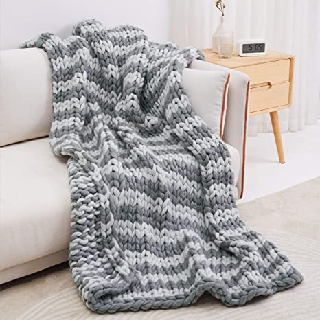 pure wool in charcoal grey, super bulky hand spun Hand knit dog blanket