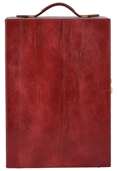 Magus Designs Leather Bottle Bar Cabinet, 26 Liters, Red