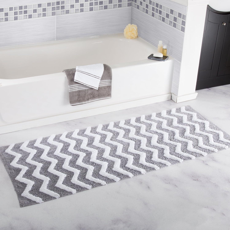Bedford Home 100% Cotton Chevron Bathroom Mat - 24x60 inches - Silver