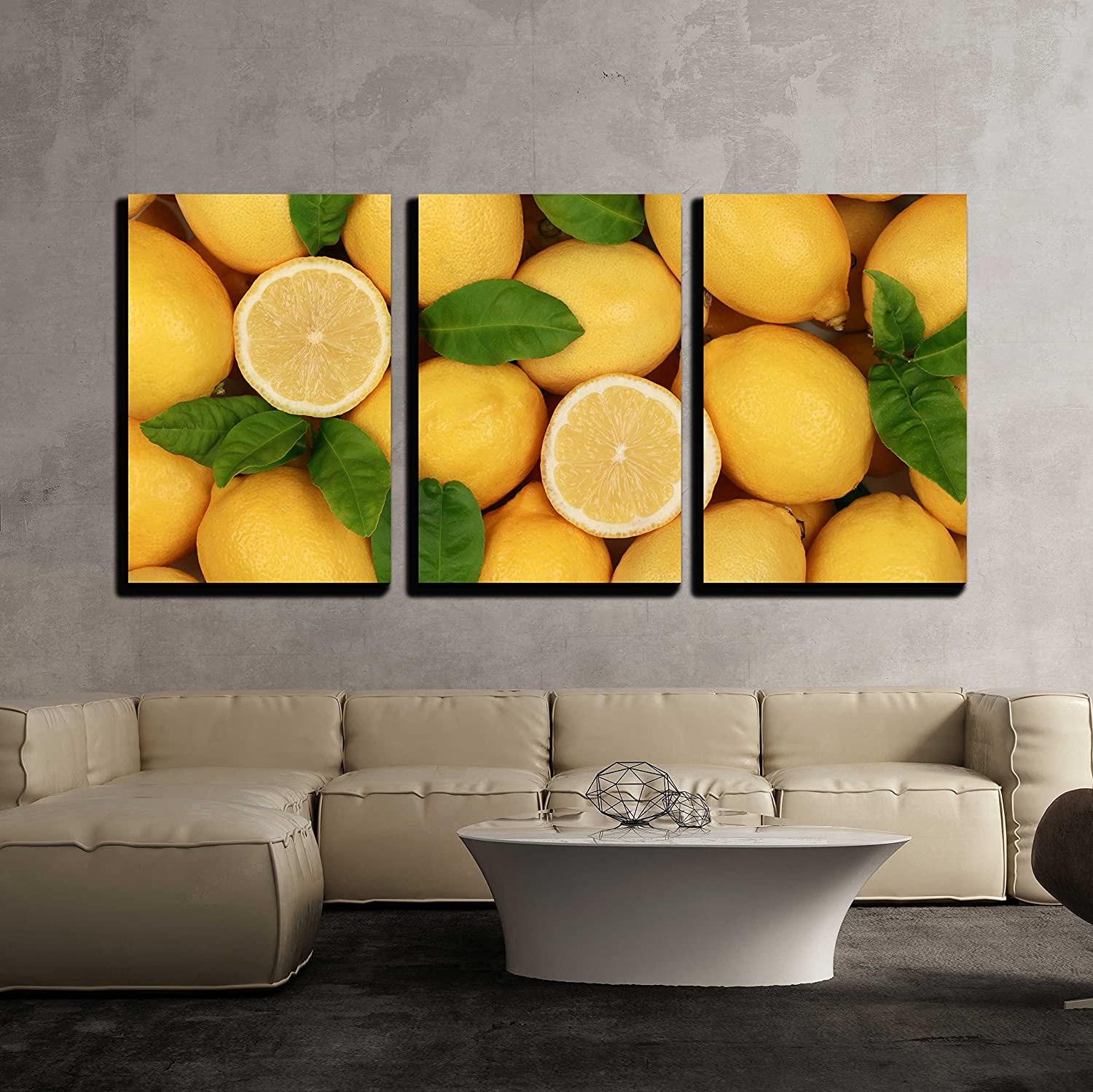 wall26-3 Piece Canvas Wall Art - Group of Fresh Lemons with Leaves ...