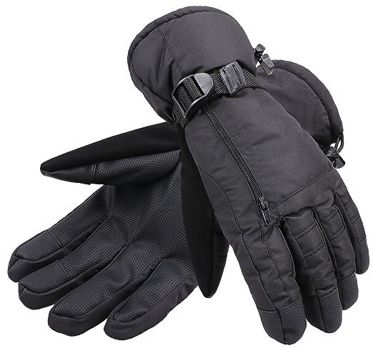ANDORRA Men's Waterproof Thinsulate Touchscreen Winter Ski Gloves ,M,Black