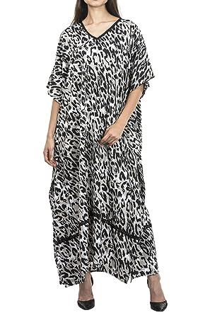 41927f9b685 Image Unavailable. Image not available for. Colour  Miss Lavish Women s  Kaftan Tunic Kimono Maxi Dress Summer Beach Cover Up Plus Size Dresses (