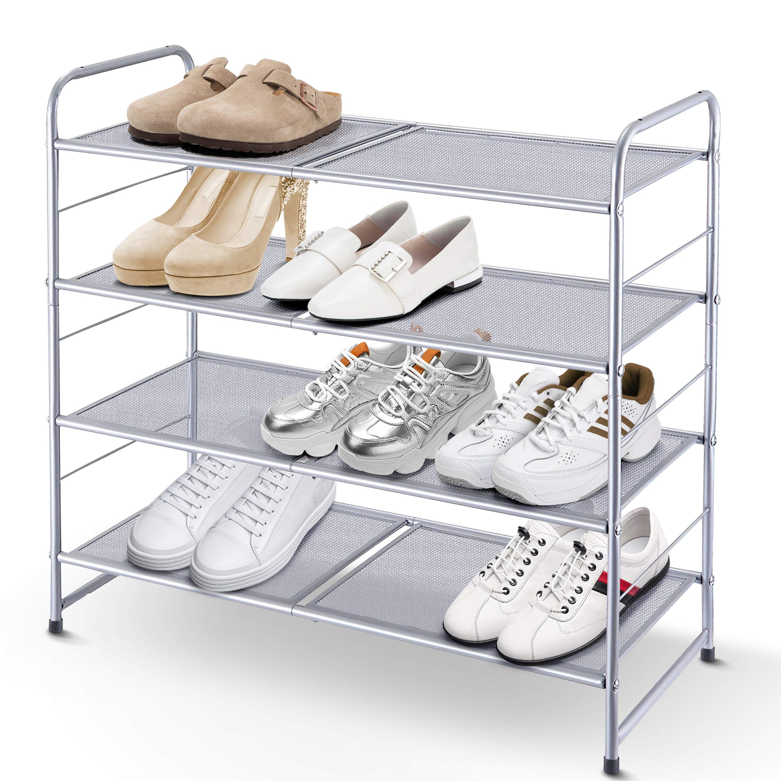 Simple Trending 4-Tier Stackable Shoe Rack, Expandable & Adjustable Shoe Shelf Storage Organizer, Metal Mesh, Silver by Simple Trending