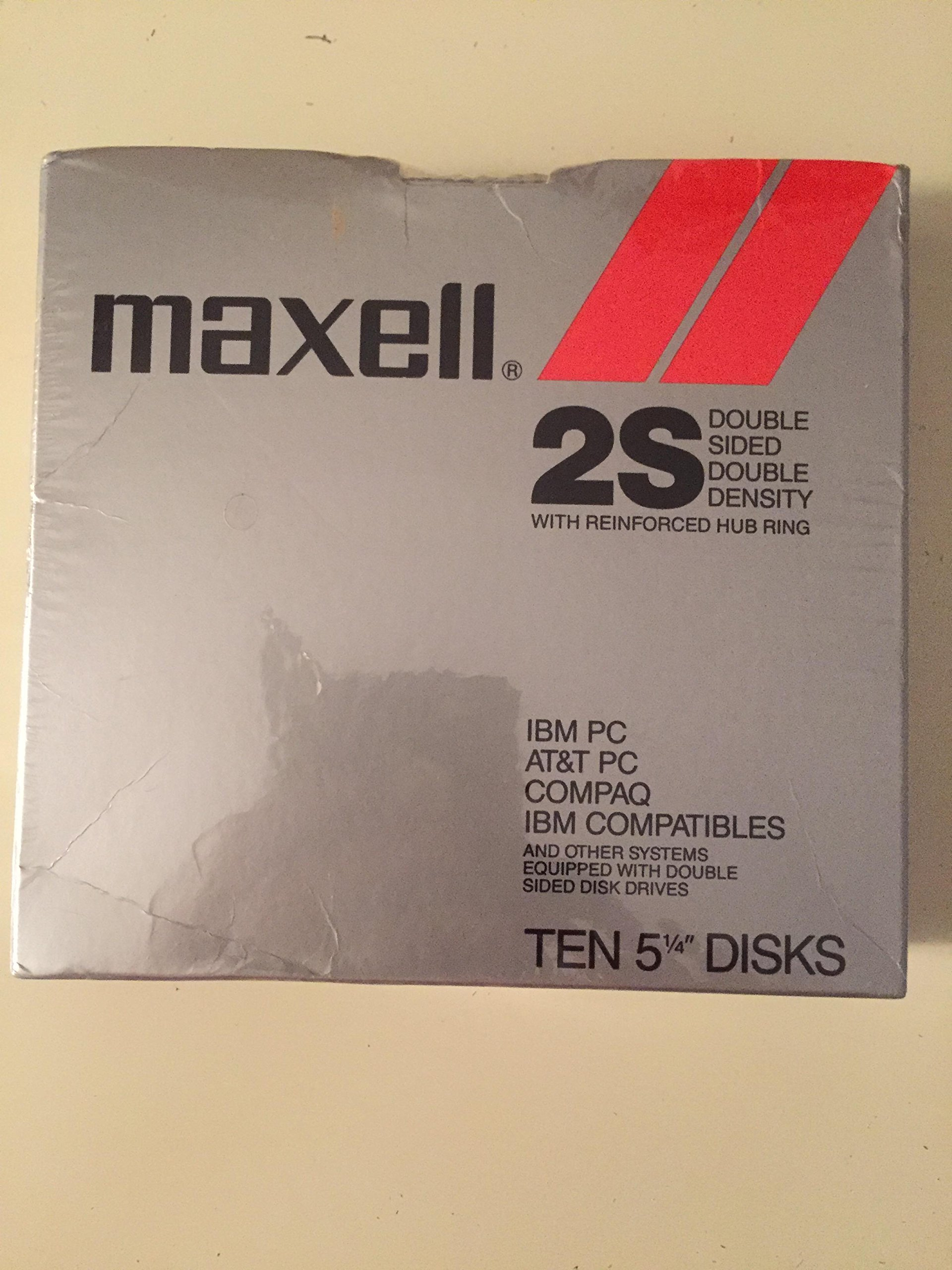 Maxell 2S Double Sided Double Density Pack of 10 Floppy Disks 5-1/4'' with Reinforced Hub Ring for IBM PC, AT&T PC, COMPAQ, IBM COMPATIBLES and Other Compatible Drives
