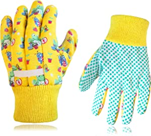 Kids Garden Gloves, 2 PAIRS, Cotton with Grip, Woven wristband - By Earth, Wind & Flowers.