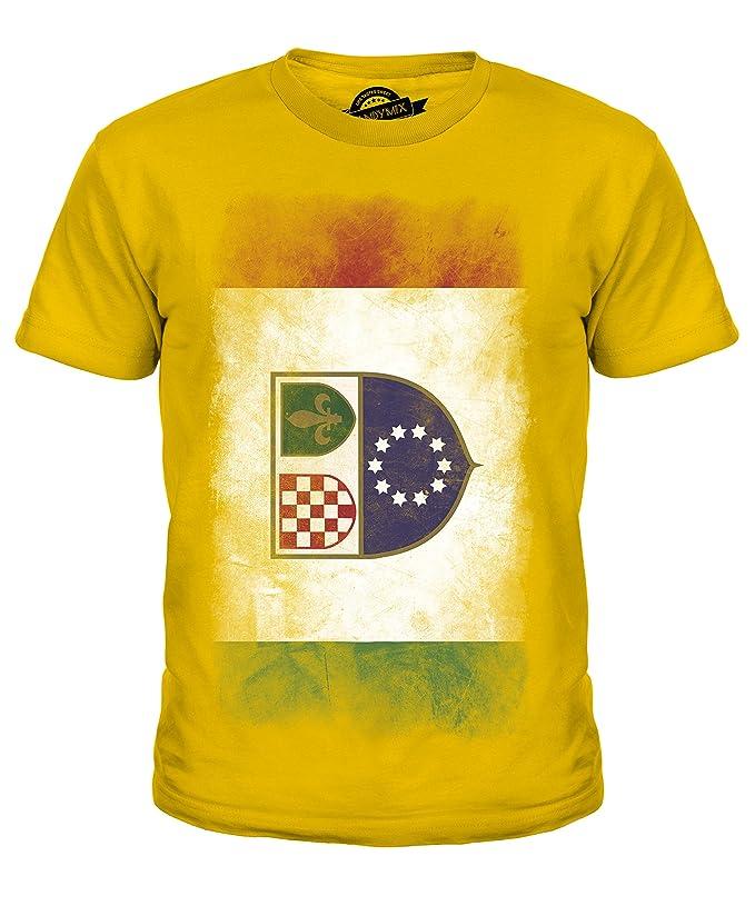 CandyMix Föderation Bosnien Und Herzegowina Verblichen Flagge Unisex Jungen  Mädchen T Shirt: Amazon.de: Bekleidung