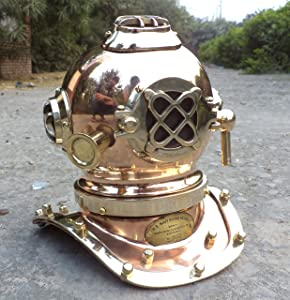 collectiblesBuy Antique Marine Mini Diving Helmet Replica Mark Us Navy Nautical Copper Finish
