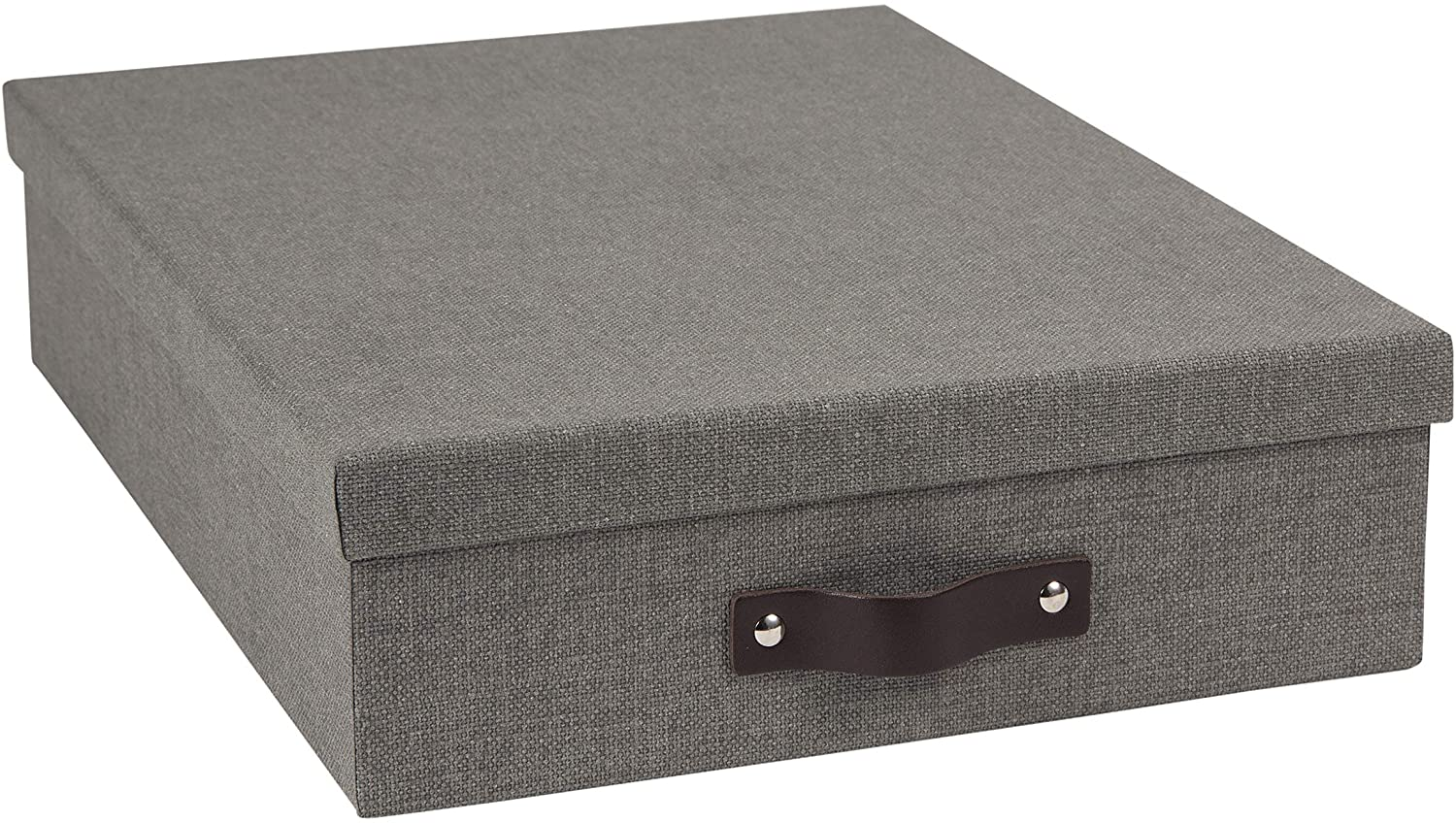 Bigso Oskar Canvas Fiberboard Document Letter Box, 3.3 x 10.2 x 13.8 in, Grey